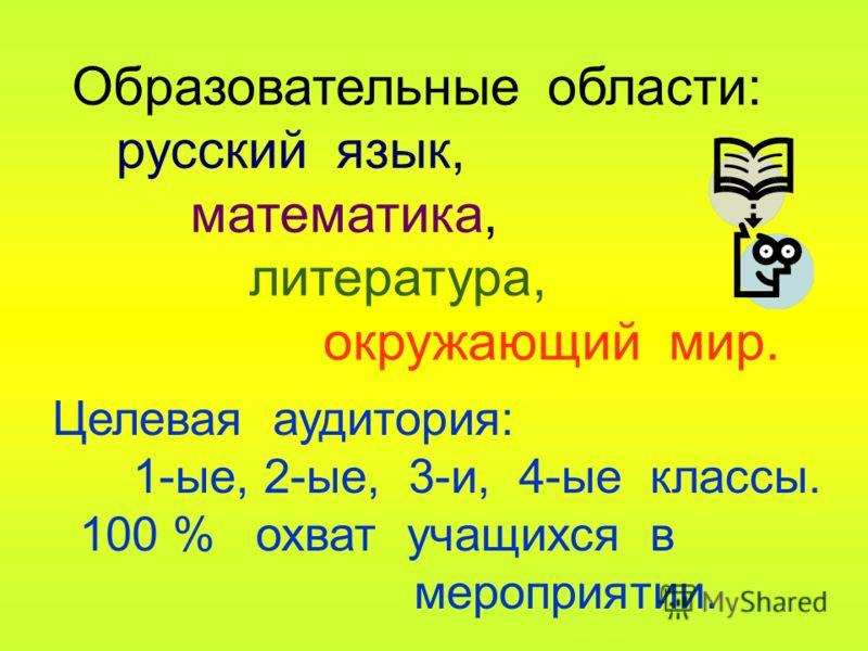 Образовательные области: русский язык, математика, литература, окружающий мир. Целевая аудитория: 1-ые, 2-ые, 3-и, 4-ые классы. 100 % охват учащихся в мероприятии.