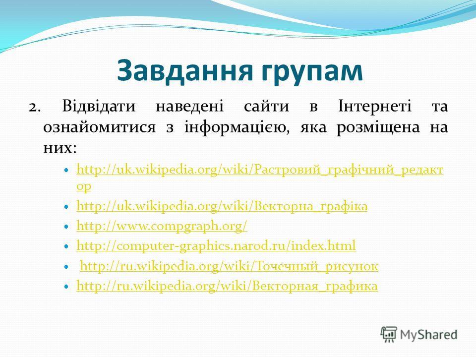 Завдання группам 2. Відвідати наведені зайти в Інтернеті та ознайомитися з інформацією, яка розміщена на них: http://uk.wikipedia.org/wiki/Растровий_графічний_редакт ор http://uk.wikipedia.org/wiki/Растровий_графічний_редакт ор http://uk.wikipedia.or