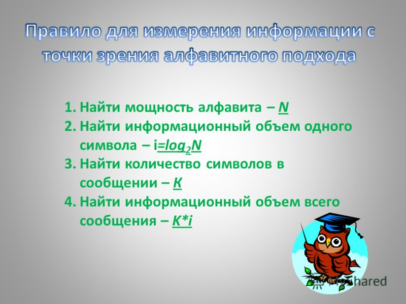 1.Найти мощность алфавита – N 2.Найти информационный объем одного символа – i=log 2 N 3.Найти количество символов в сообщении – К 4.Найти информационный объем всего сообщения – K*i