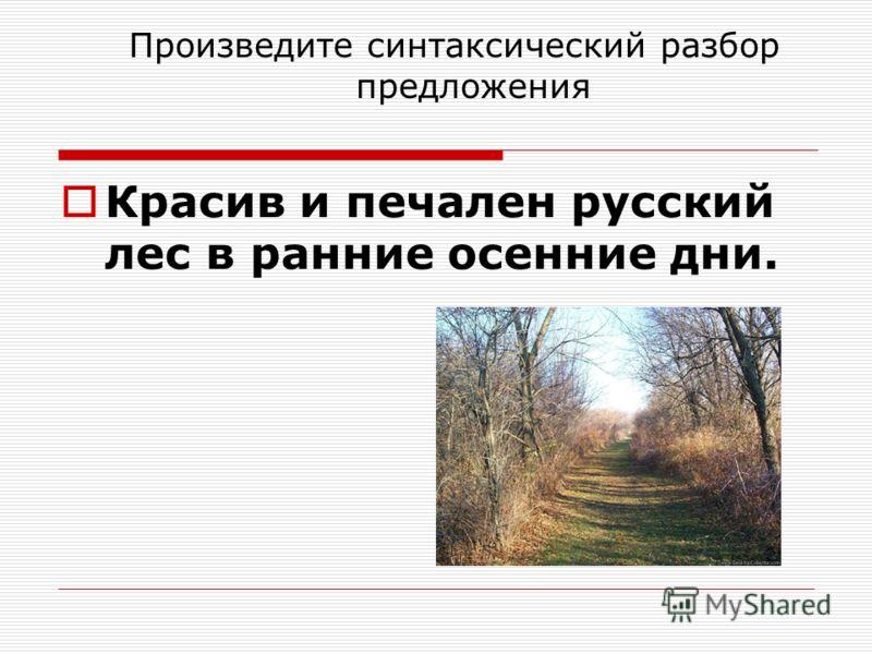 Произведите синтаксический разбор предложения Красив и печален русский лес в ранние осенние дни.