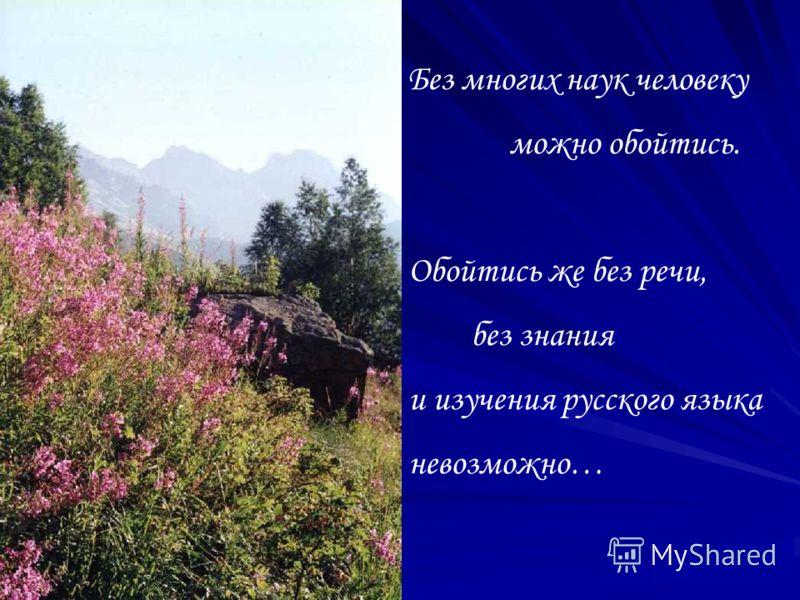 Без многих наук человеку можно обойтись. Обойтись же без речи, без знания и изучения русского языка невозможно…