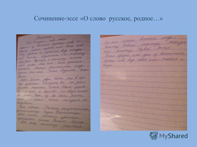 Сочинение-эссе «О слово русское, родное…»
