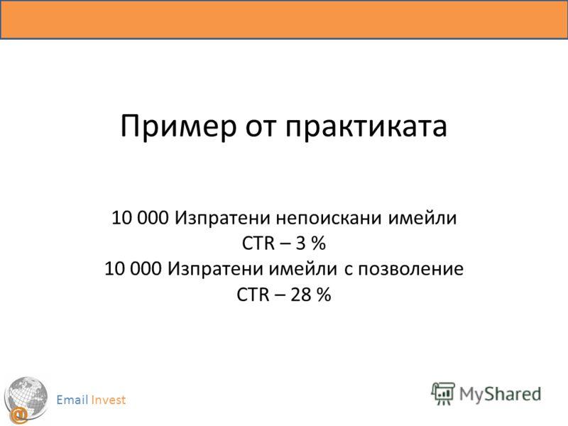 Пример от практиката 10 000 Изпратени непоискани имейли CTR – 3 % 10 000 Изпратени имейли с позволение CTR – 28 % Email Invest
