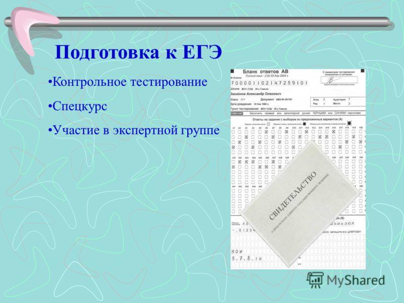 Подготовка к ЕГЭ Контрольное тестирование Спецкурс Участие в экспертной группе