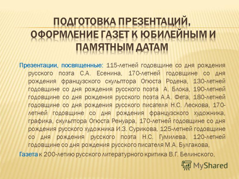 Презентации, посвященные: 115-летней годовщине со дня рождения русского поэта С.А. Есенина, 170-летней годовщине со дня рождения французского скульптора Огюста Родена, 130-летней годовщине со дня рождения русского поэта А. Блока, 190-летней годовщине