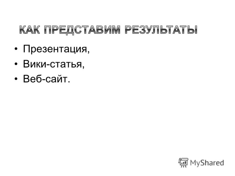 Презентация, Вики-статья, Веб-сайт.