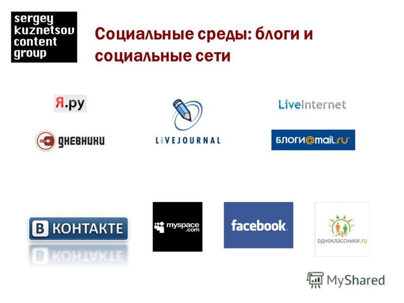 Социальные среды: блоги и социальные сети