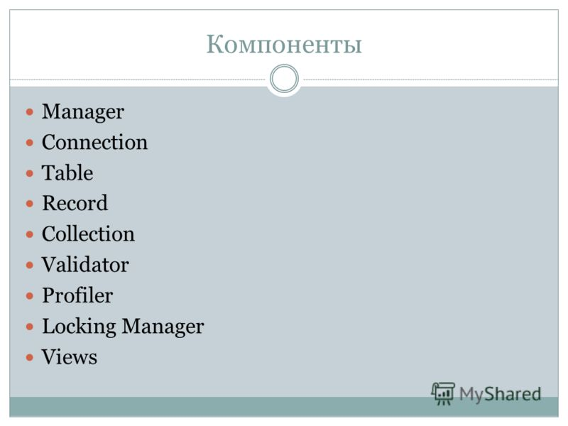 Компоненты Manager Connection Table Record Collection Validator Profiler Locking Manager Views