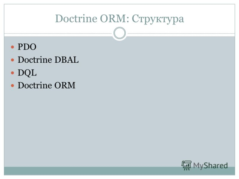 Doctrine ORM: Структура PDO Doctrine DBAL DQL Doctrine ORM
