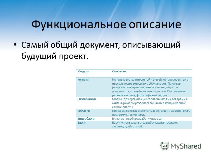 Функциональное описание Самый общий документ, описывающий будущий проект.