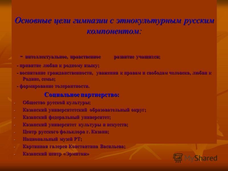Основные цели гимназии с этнокультурным русским компонентом: - интеллектуальное, нравственное развитие учащихся; - интеллектуальное, нравственное развитие учащихся; - привитие любви к родному языку; - привитие любви к родному языку; - воспитание граж