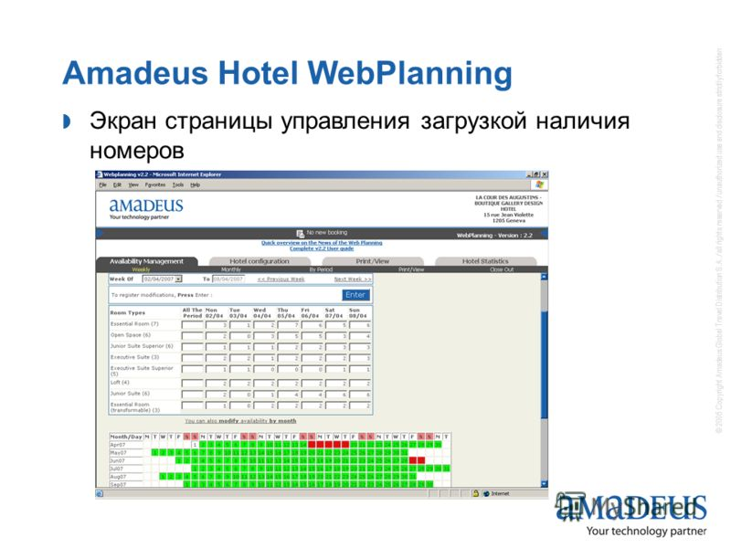© 2005 Copyright Amadeus Global Travel Distribution S.A. / all rights reserved / unauthorized use and disclosure strictly forbidden Amadeus Hotel WebPlanning Экран страницы управления загрузкой наличия номеров
