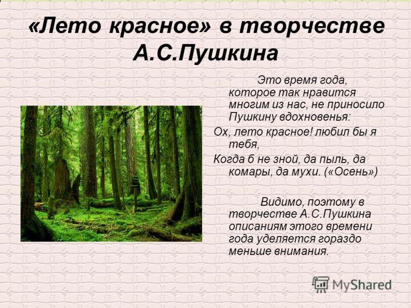 «Лето красное» в творчестве А.С.Пушкина Это время года, которое так нравится многим из нас, не приносило Пушкину вдохновенья: Ох, лето красное! любил бы я тебя, Когда б не зной, да пыль, да комары, да мухи. («Осень») Видимо, поэтому в творчестве А.С.