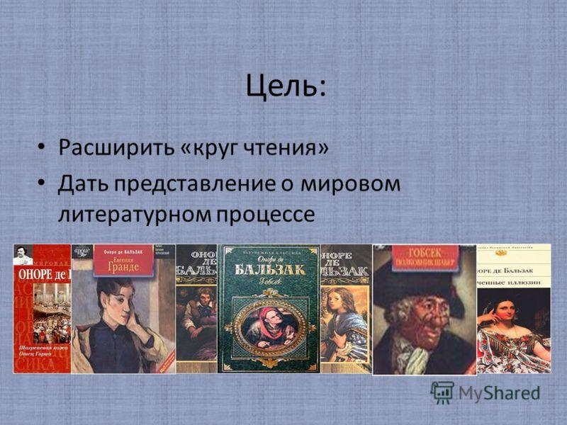 Цель: Расширить «круг чтения» Дать представление о мировом литературном процессе