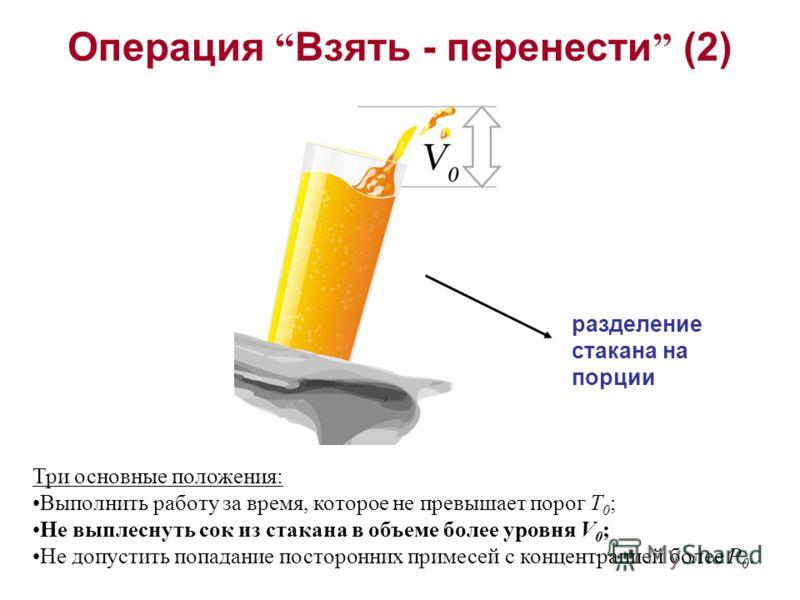 Три основные положения: Выполнить работу за время, которое не превышает порог T 0 ; Не выплеснуть сок из стакана в объеме более уровня V 0 ; Не допустить попадание посторонних примесей с концентрацией более P 0. Операция Взять - перенести (2) разделе