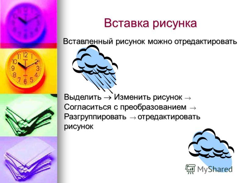 Вставка рисунка Вставленный рисунок можно отредактировать Выделить Изменить рисунок Согласиться с преобразованием Разгруппировать отредактировать рисунок