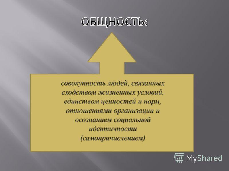 совокупность людей, связанных сходством жизненных условий, единством ценностей и норм, отношениями организации и осознанием социальной идентичности ( самопричислением )
