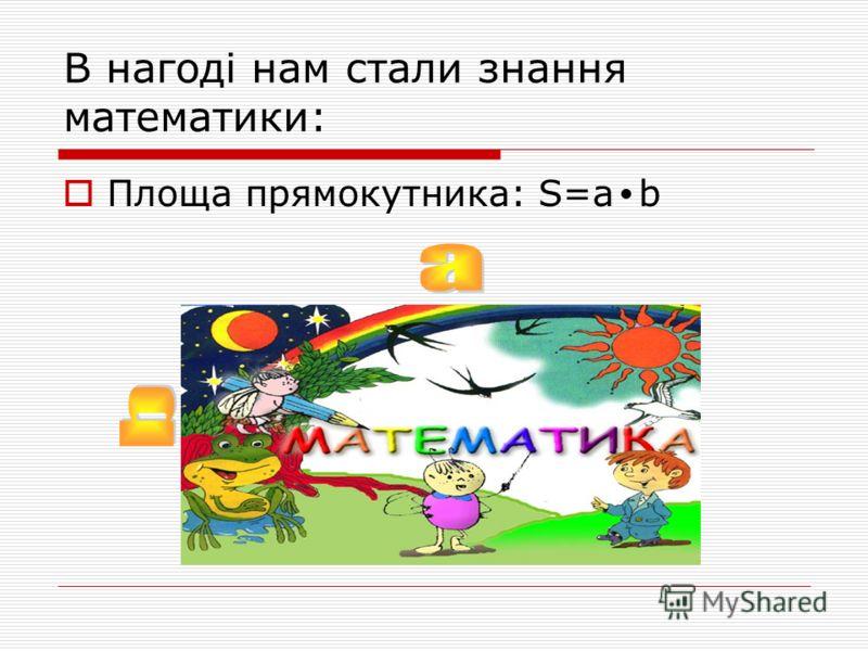 В нагоді нам стали знання математики: Площа прямокутника: S=a b
