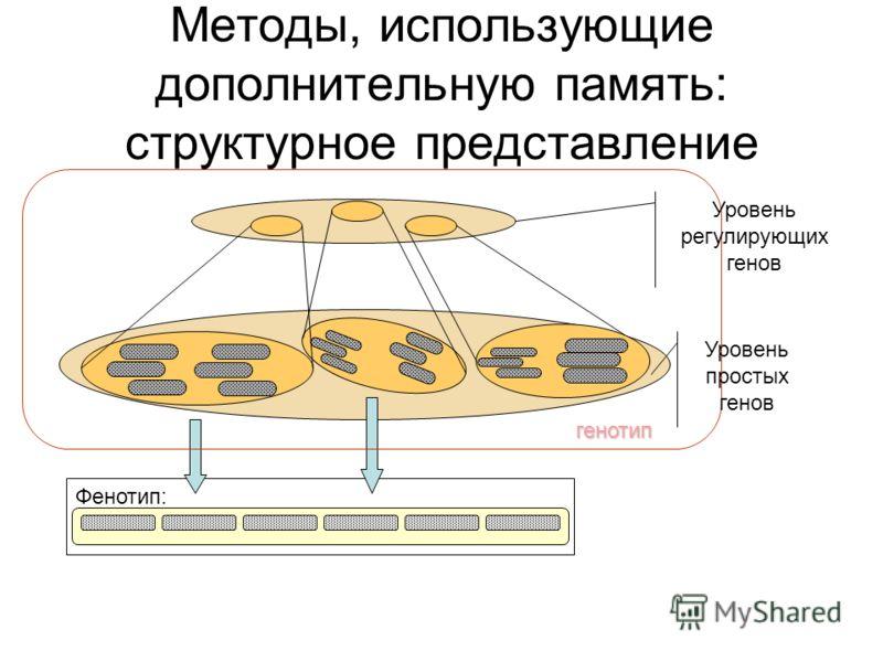 Методы, использующие дополнительную память: структурное представление Фенотип: генотип Уровень регулирующих генов Уровень простых генов