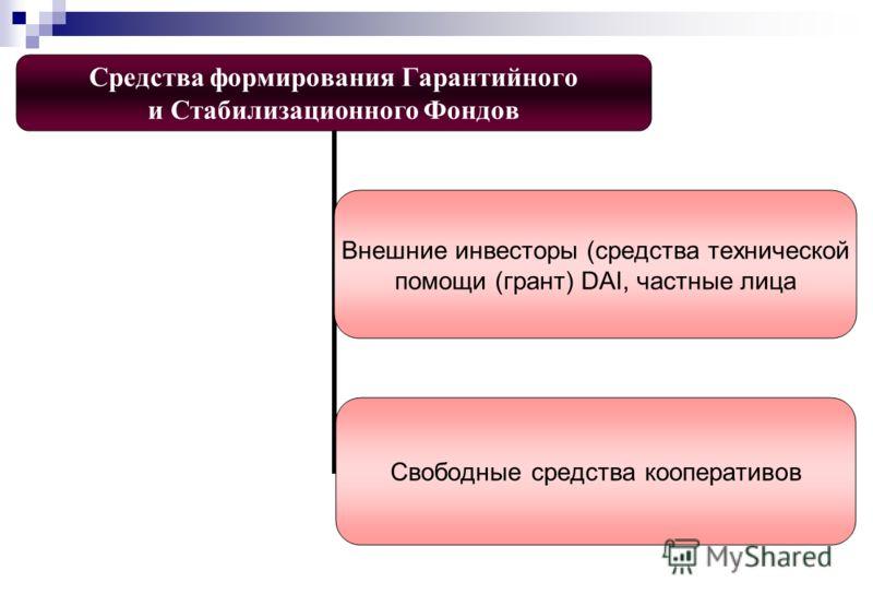 Средства формирования Гарантийного и Стабилизационного Фондов Внешние инвесторы (средства технической помощи (грант) DAI, частные лица Свободные средства кооперативов