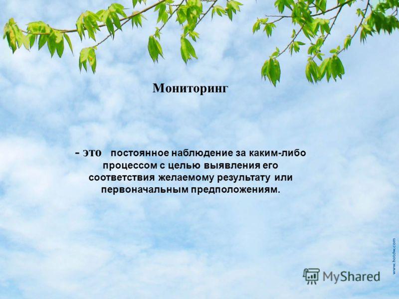 Мониторинг - это постоянное наблюдение за каким-либо процессом с целью выявления его соответствия желаемому результату или первоначальным предположениям.
