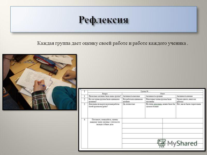 Каждая группа дает оценку своей работе и работе каждого ученика.