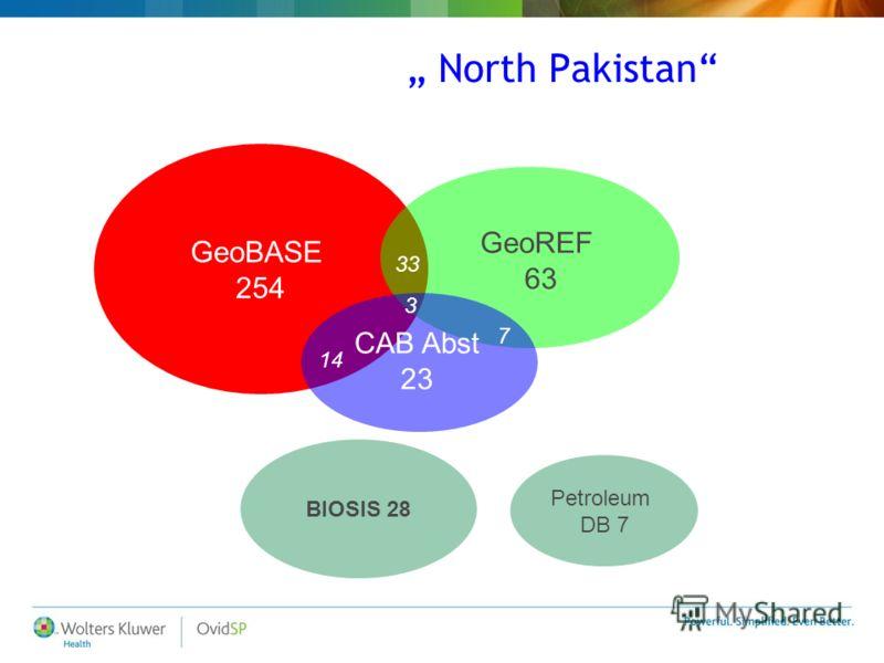 North Pakistan GeoBASE 254 BIOSIS 28 Petroleum DB 7 14 33 7 GeoREF 63 CAB Abst 23 3