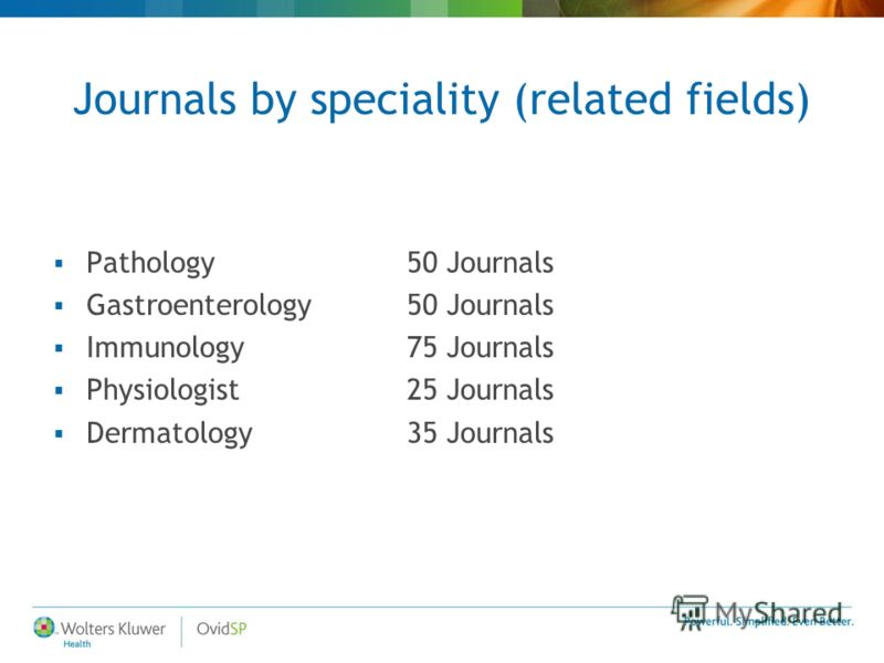 Journals by speciality (related fields) Pathology 50 Journals Gastroenterology 50 Journals Immunology75 Journals Physiologist 25 Journals Dermatology35 Journals