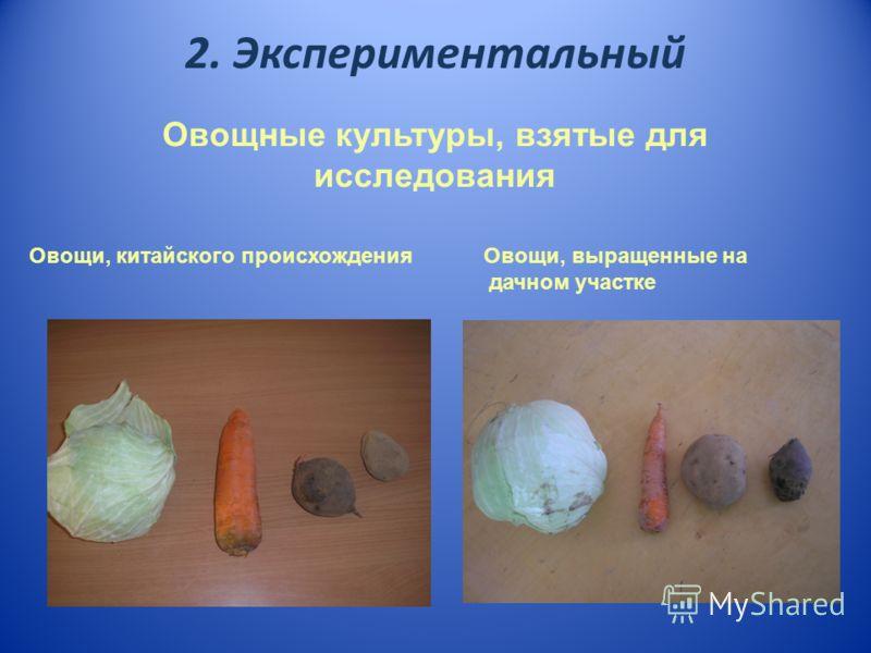 2. Экспериментальный Овощные культуры, взятые для исследования Овощи, китайского происхождения Овощи, выращенные на дачном участке