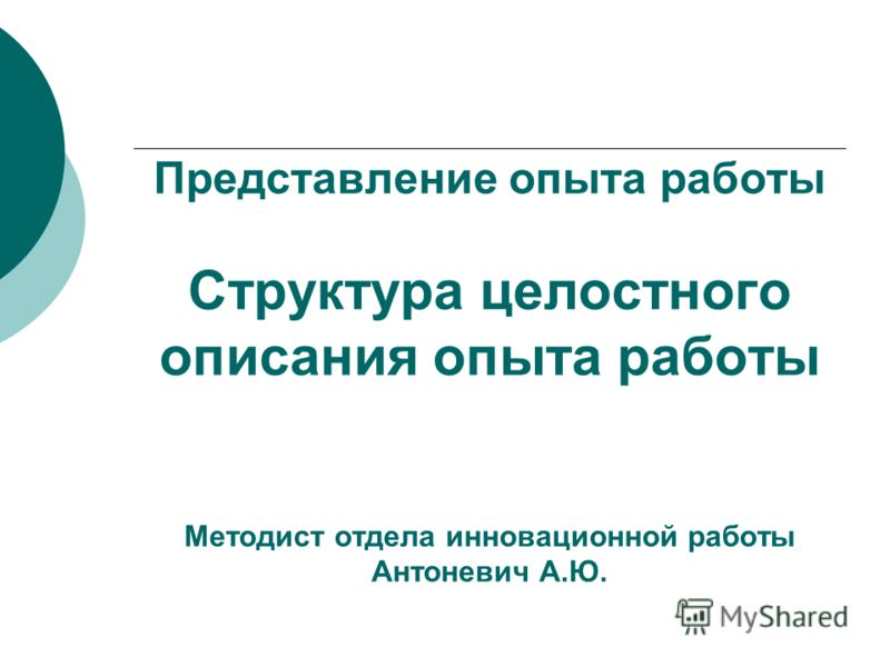 Представление опыта работы Структура целостного описания опыта работы Методист отдела инновационной работы Антоневич А.Ю.