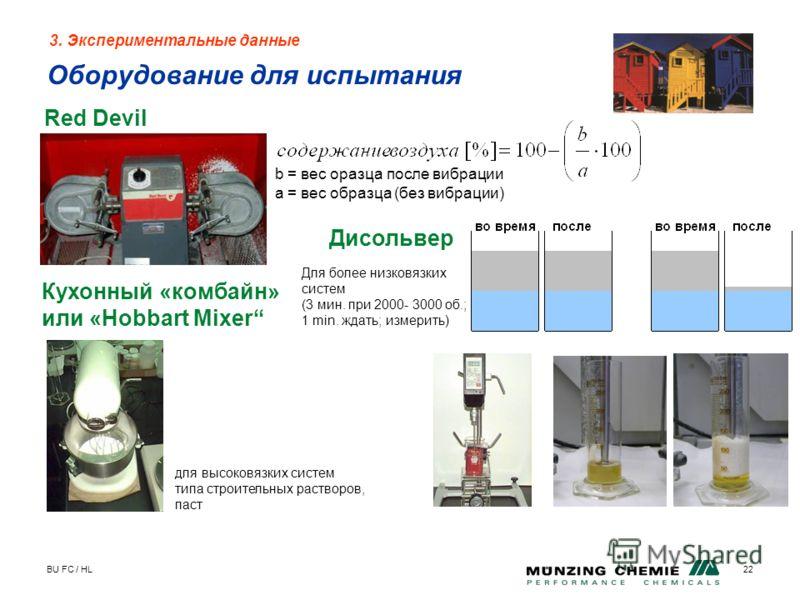 BU FC / HL22 3. Экспериментальные данные Оборудование для испытания Red Devil b = вес оразца после вибрации a = вес образца (без вибрации) Кухонный «комбайн» или «Hobbart Mixer для высоковязких систем типа строительных растворов, паст Дисольвер Для б