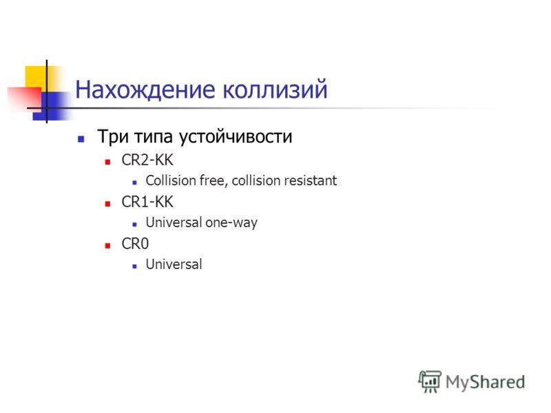Нахождение коллизий Три типа устойчивости CR2-KK Collision free, collision resistant CR1-KK Universal one-way CR0 Universal