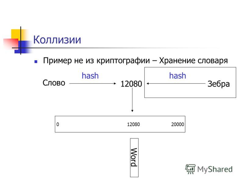 Коллизии Пример не из криптографии – Хранение словаря Слово 0 12080 20000 hash 12080 Word Зебра hash