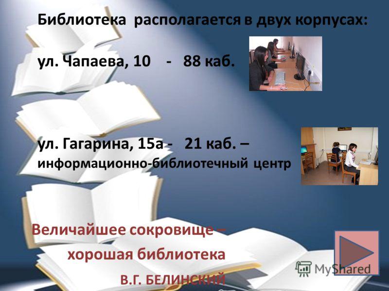 Библиотека располагается в двух корпусах: ул. Чапаева, 10 - 88 каб. ул. Гагарина, 15а - 21 каб. – информационно-библиотечный центр Величайшее сокровище – хорошая библиотека В.Г. БЕЛИНСКИЙ