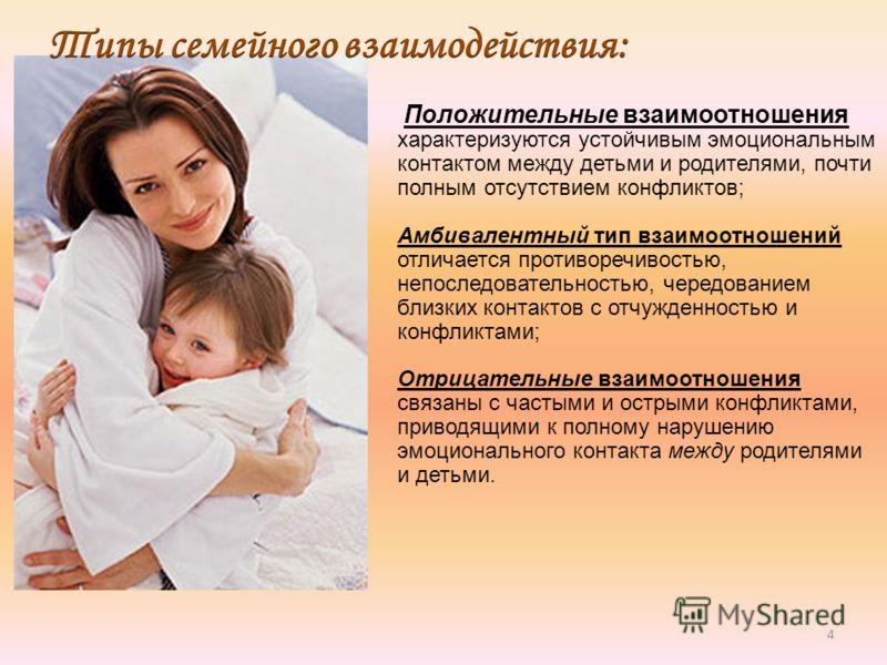 4 Положительные взаимоотношения характеризуются устойчивым эмоциональным контактом между детьми и родителями, почти полным отсутствием конфликтов; Амбивалентный тип взаимоотношений отличается противоречивостью, непоследовательностью, чередованием бли