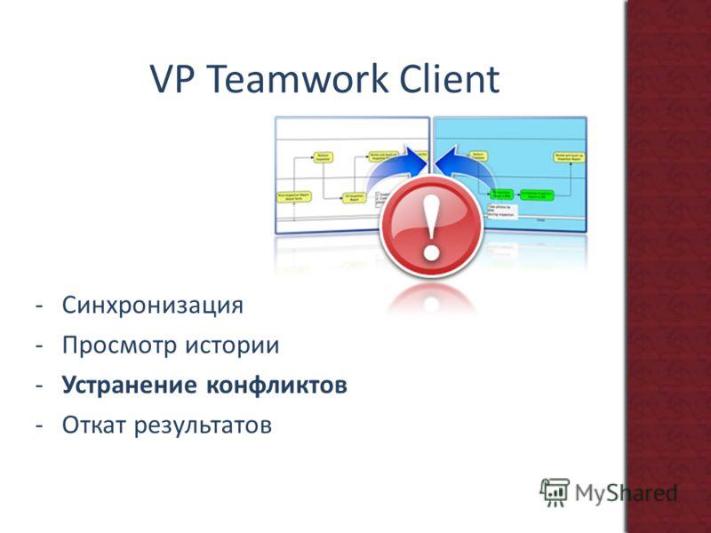 VP Teamwork Client -Синхронизация -Просмотр истории -Устранение конфликтов -Откат результатов