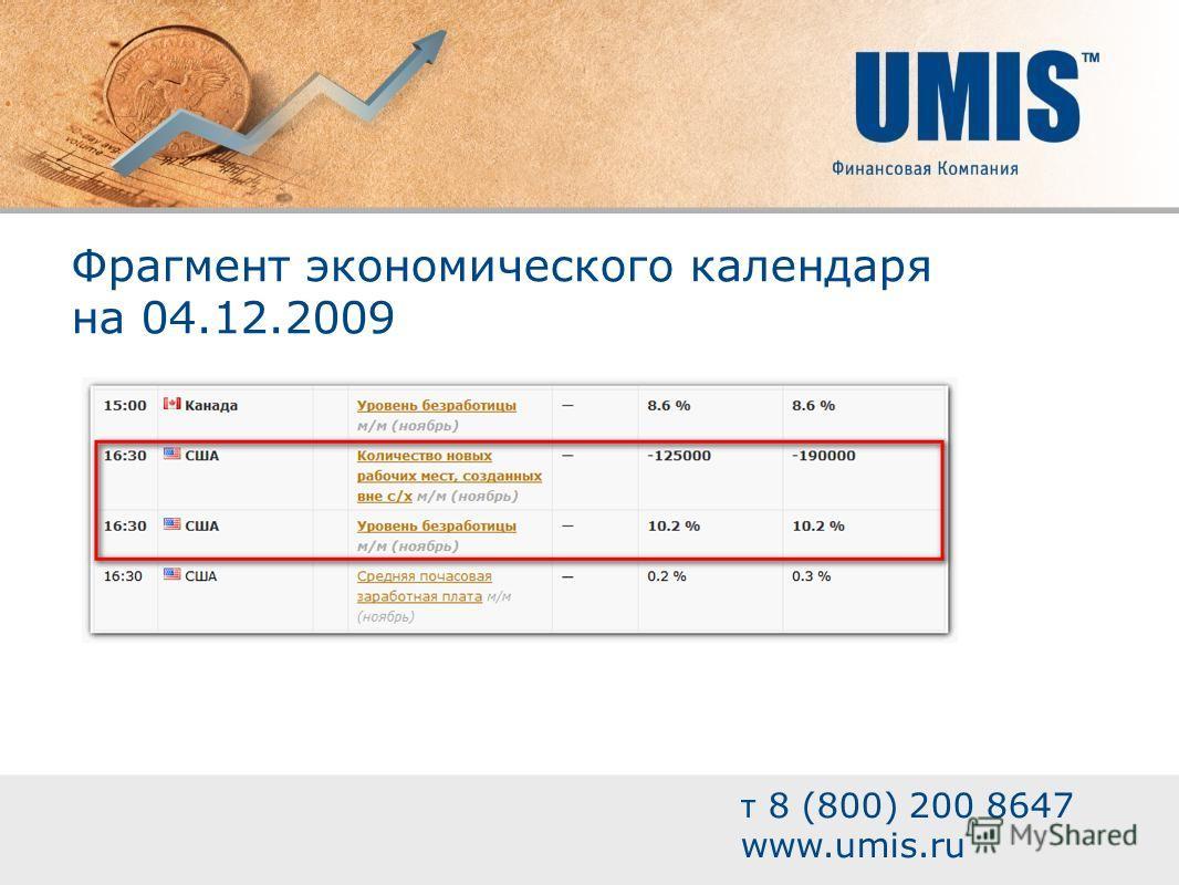 Фрагмент экономического календаря на 04.12.2009 т 8 (800) 200 8647 www.umis.ru