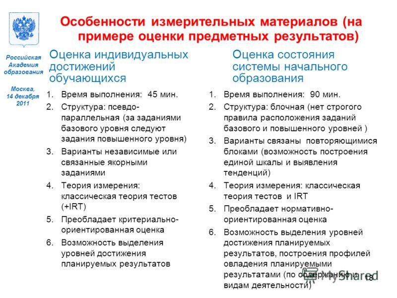 Москва, 14 декабря 2011 Российская Академия образования Оценка индивидуальных достижений обучающихся 1.Время выполнения: 45 мин. 2.Структура: псевдо- параллельная (за заданиями базового уровня следуют задания повышенного уровня) 3.Варианты независимы