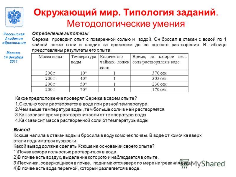Москва, 14 декабря 2011 Российская Академия образования Масса водыТемпература воды Количество чайных ложек соли Время, за которое весь соль растворялся в воде 200 г10°1370 сек 200 г40°1305 сек 200 г50°1230 сек 200 г70°1170 сек Определение гипотезы Се