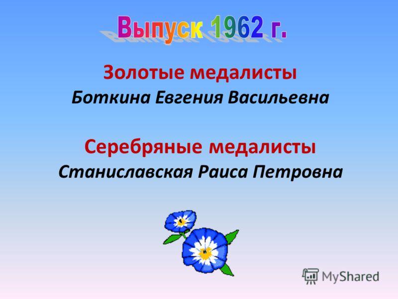 Золотые медалисты Боткина Евгения Васильевна Серебряные медалисты Станиславская Раиса Петровна