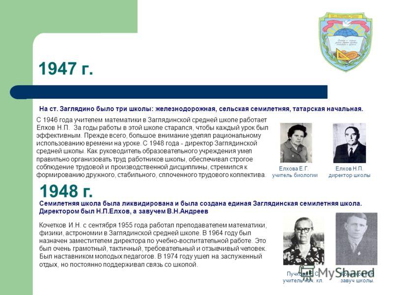 1947 г. На ст. Заглядино было три школы: железнодорожная, сельская семилетняя, татарская начальная. 1948 г. Семилетняя школа была ликвидирована и была создана единая Заглядинская семилетняя школа. Директором был Н.П.Елхов, а завучем В.Н.Андреев Елхов