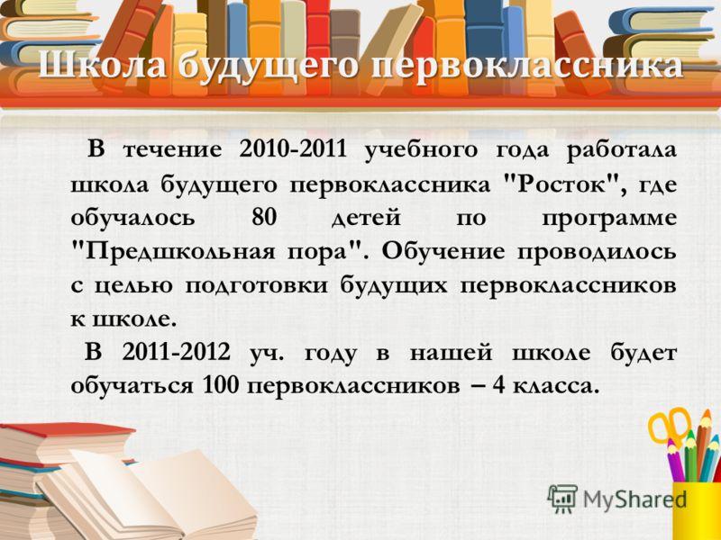 Школа будущего первоклассника В течение 2010-2011 учебного года работала школа будущего первоклассника