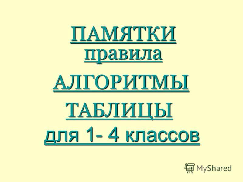 ПАМЯТКИ правила АЛГОРИТМЫ ТАБЛИЦЫ для 1- 4 классов для 1- 4 классов
