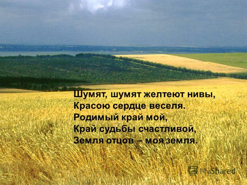Шумят, шумят желтеют нивы, Красою сердце веселя. Родимый край мой, Край судьбы счастливой, Земля отцов – моя земля.