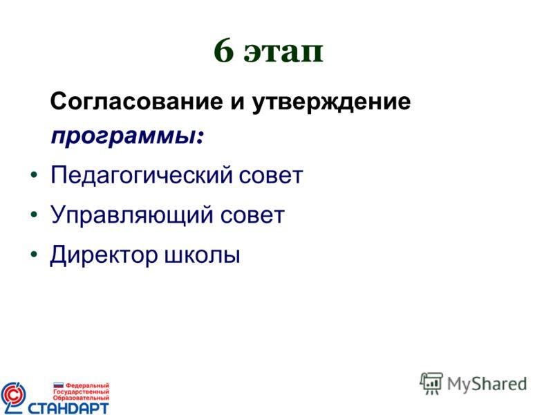 6 этап Согласование и утверждение программы : Педагогический совет Управляющий совет Директор школы