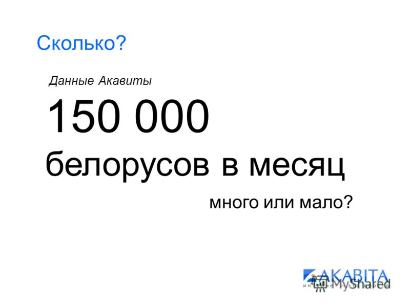 Сколько? 150 000 белорусов в месяц Данные Акавиты много или мало?