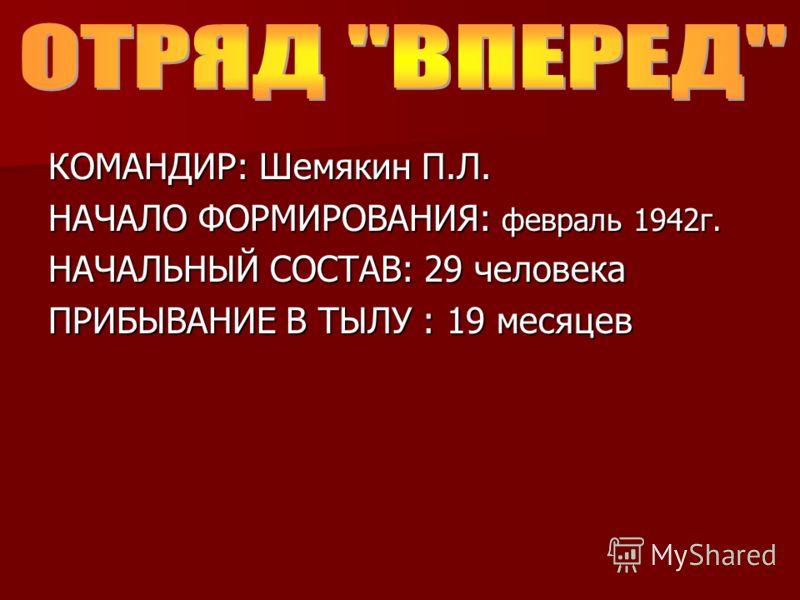КОМАНДИР: Шемякин П.Л. НАЧАЛО ФОРМИРОВАНИЯ: февраль 1942г. НАЧАЛЬНЫЙ СОСТАВ: 29 человека ПРИБЫВАНИЕ В ТЫЛУ : 19 месяцев