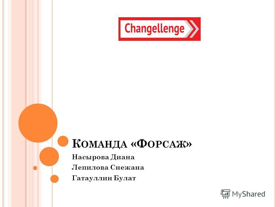 К ОМАНДА «Ф ОРСАЖ » Насырова Диана Лепилова Снежана Гатауллин Булат