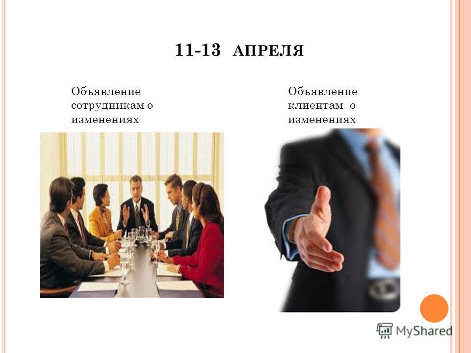 11-13 АПРЕЛЯ Объявление сотрудникам о изменениях Объявление клиентам о изменениях