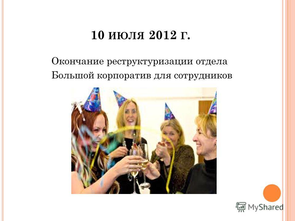 10 ИЮЛЯ 2012 Г. Окончание реструктуризации отдела Большой корпоратив для сотрудников